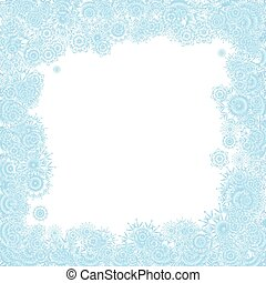 Christmas background with blue snowflakes, vector illustration