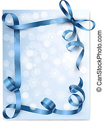 Christmas background with blue gift bow with blue ribbons. Vector
