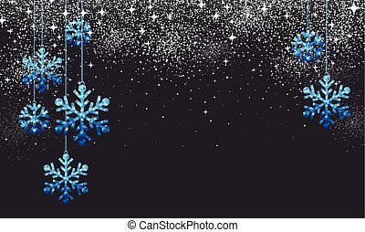 Christmas background with blue snowflakes.