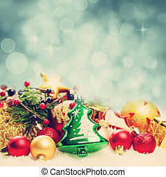 Christmas Background with Bokeh Sparkle. Decoration Border on White Snow