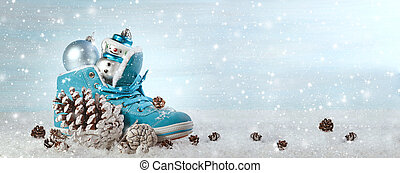 Christmas background with boots and Christmas decorations. Panoramic image