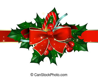 christmas background with bow and hollyberry, this ...