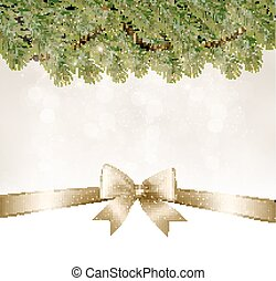 Christmas background with branches of tree and bow with ribbons