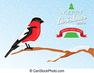 Christmas background with Bullfinch bird