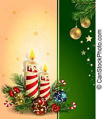 Christmas background with burning