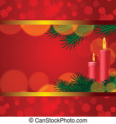Christmas background with candles and fir tree