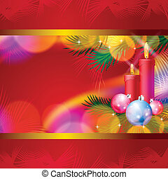 Christmas background with candles, balls and lights
