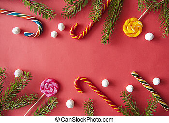 Christmas background with candy canes
