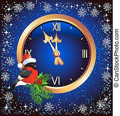 Christmas background with chimes and bullfinch in Santa Claus hat