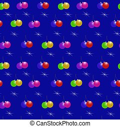 Christmas background with Christmas balls on a blue background. Seamless vector pattern