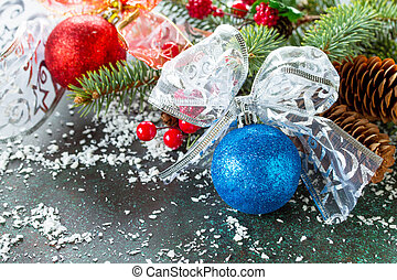 Christmas background with Christmas Blue Ball and snow. Copy space.