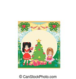 Christmas background with Christmas tree and girls with gifts