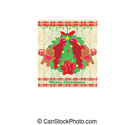 Christmas background with Christmas tree and sweet teddy bears