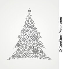 Christmas background with Christmas tree made from snowflakes, vector illustration.