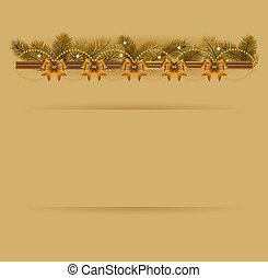 Christmas background with Christmas tree garland and bows. Vector illustration.
