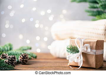 Christmas background with Christmas tree, lights, presents