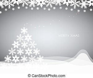 Christmas background with Christmas tree of snowflakes