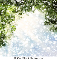 Christmas Background with Christmas Tree Twig and Snow on Abstract Glitter