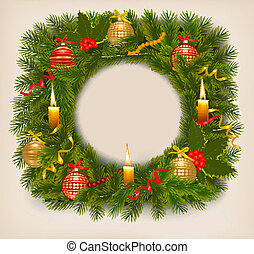 Christmas background with christmas tree with candle. Vector illustration