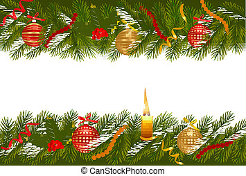 Christmas background with christmas tree with candle. Vector illustration.