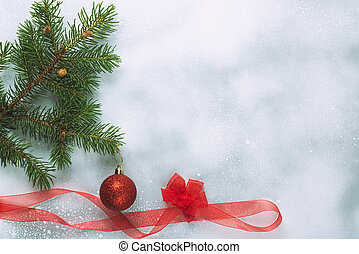 Christmas background with Christmas trees and decorations on a light background.
