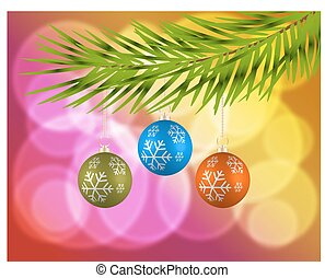 Christmas background with colorful balls. Christmas card....