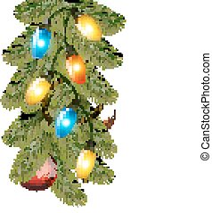 Christmas background with colorful garland, baubles and branches