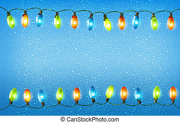 Christmas background with colorful garlands. Vector