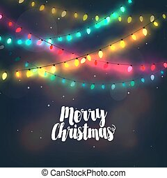 Christmas background with colorful light garlands and Merry Christmas typography