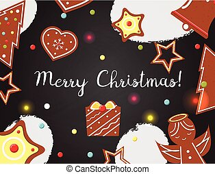 Christmas background with cookies on black board. Top view. Vector illustration