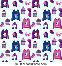 Christmas background with cute ugly sweaters