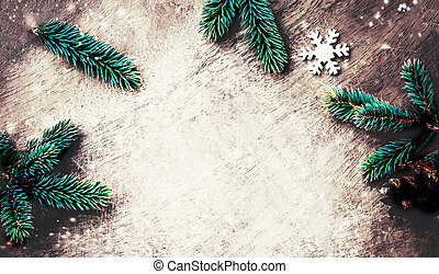 Christmas background with decoration on dark wooden board. Flat lay, Top view. Xmas Festive Card