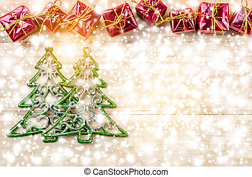 Christmas background with decorations and gift boxes.