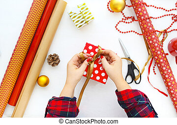 Christmas background with decorations and gift boxes on white