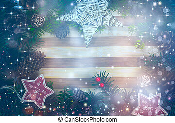 Christmas background with decorations and pine cones, on wooden board