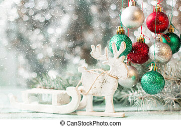 Christmas background with decorations on wooden board. Soft...