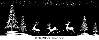 Christmas background with deers