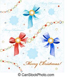 Christmas background with diamonds, bows and snowflakes