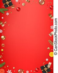 Christmas background with different holiday elements