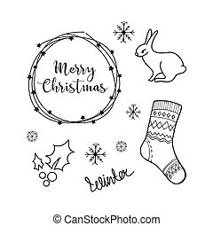 Christmas background with doodle icons.