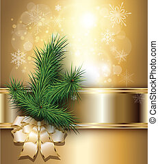 Christmas background with elegant gold banner, christmas ...