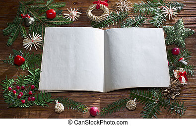 christmas background with empty paper