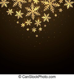 Christmas background with falling gold snowflakes