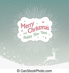 Christmas Background with Falling Snow and Deer Silhouette