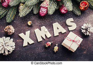 Wooden letters: XMAS and Christmas Gift