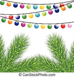 christmas background with festive garlands, vector ...