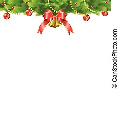 Christmas background with fir and red ribbon