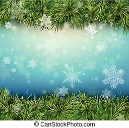 Christmas  background with fir branches and snowflakes.