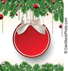 Christmas background with fir branches and ball.