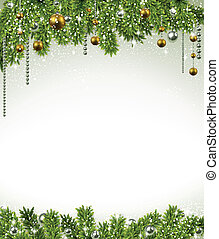 Christmas background with fir branches and balls. - ...
